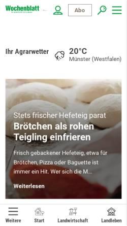 Vorschau der mobilen Webseite www.wochenblatt.com, Landwirtschaftliches Wochenblatt Westfalen-Lippe