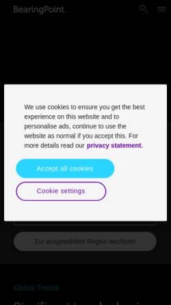 Vorschau der mobilen Webseite www.bearingpoint.com, BearingPoint Deutschland GmbH