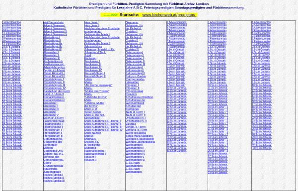 Vorschau von www.kirchenweb.at, Katholische Predigten und Fürbitten Sammlung