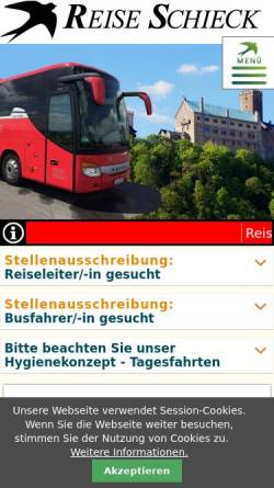 Vorschau der mobilen Webseite www.reise-schieck.de, Reisebüro Schieck