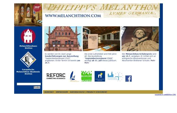Vorschau von www.melanchthon.com, Bretten, Melanchthonhaus