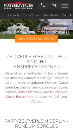 Vorschau der mobilen Webseite partyzeltverleih-berlin.de, Zeltverleih Berlin