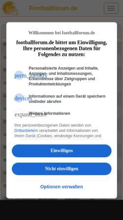 Vorschau der mobilen Webseite www.footballforum.de, Footballforum.de