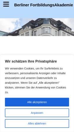 Vorschau der mobilen Webseite www.berliner-fortbildungs-akademie.de, Berliner FortbildungsAkademie