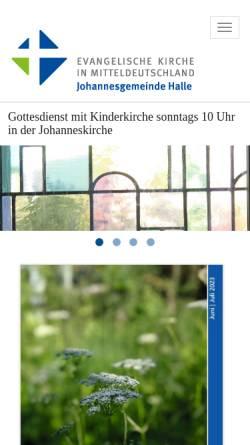 Vorschau der mobilen Webseite www.johanneskirche-halle.de, Halle, Johanneskirche