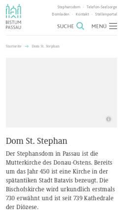 Vorschau der mobilen Webseite www.bistum-passau.de, Passau, St. Stephan Dom