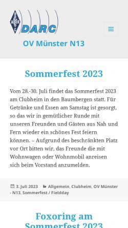 Vorschau der mobilen Webseite www.dk0mu.de, Deutscher Amateur Radio Club e.V., DOK N13