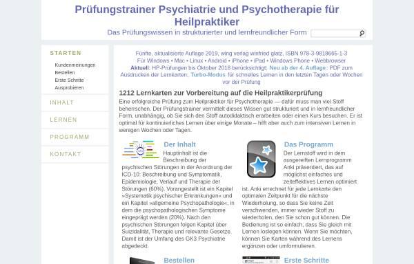 Vorschau von www.pruefungstrainer-psychotherapie.de, Prüfungstrainer Psychiatrie und Psychotherapie für Heilpraktiker