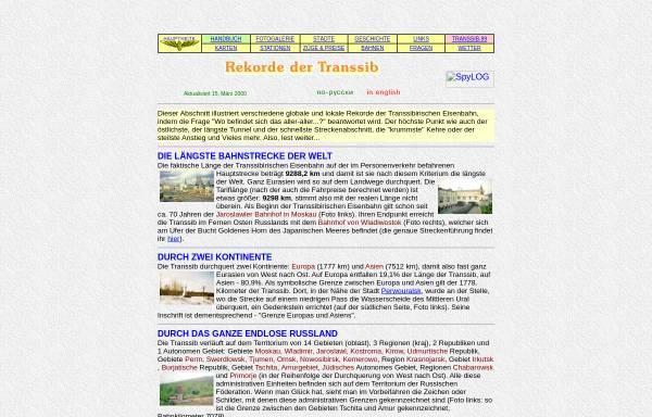 Vorschau von www.trans-sib.de, Rekorde der Transsibirischen Eisenbahn