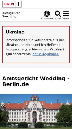 Vorschau der mobilen Webseite www.berlin.de, Amtsgericht Wedding