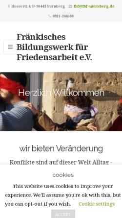 Vorschau der mobilen Webseite www.fbf-nuernberg.de, Fränkisches Bildungswerk für Friedensarbeit e.V.