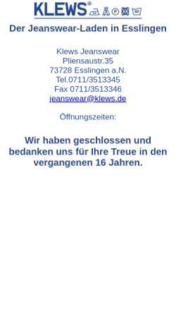 Vorschau der mobilen Webseite www.klews.de, Klews Jeanswear