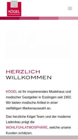 Vorschau der mobilen Webseite modehaus-koegel.de, Modehaus Koegel