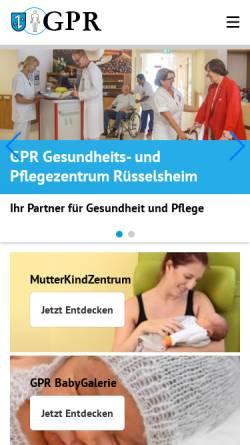 Vorschau der mobilen Webseite www.gp-ruesselsheim.de, GPR Gesundheits- und Pflegezentrum Rüsselsheim, Klinikum