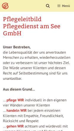 Vorschau der mobilen Webseite www.pflegedienst-am-see.de, Pflegedienst am See GmbH