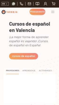 Vorschau der mobilen Webseite www.spanish-in-spain.es, Valencia: Taronja School