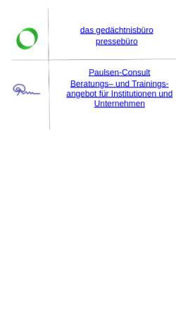 Vorschau der mobilen Webseite www.gedaechtnismanagement.de, Institut für Gedächtnismanagement und Therapie
