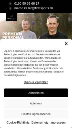 Vorschau der mobilen Webseite www.firstsports.de, Firstsports - Die Sportagentur