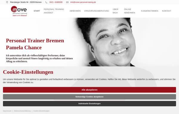 Vorschau von www.move-personal-training.de, Move Personal Training & Ernährungsberatung, Pamela Chance