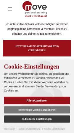 Vorschau der mobilen Webseite www.move-personal-training.de, Move Personal Training & Ernährungsberatung, Pamela Chance
