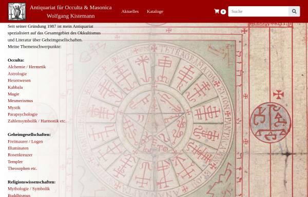 Vorschau von www.kistemann.de, Antiquariat für Occulta und Masonica Wolfgang Kistemann