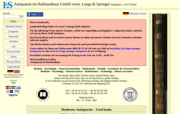 Vorschau von www.lange-springer-antiquariat.de, Antiquariat im Hufelandhaus
