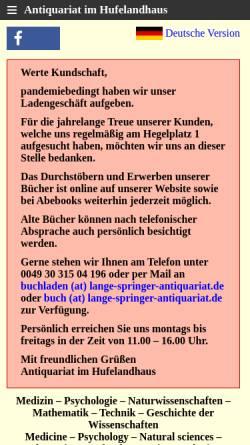 Vorschau der mobilen Webseite www.lange-springer-antiquariat.de, Antiquariat im Hufelandhaus
