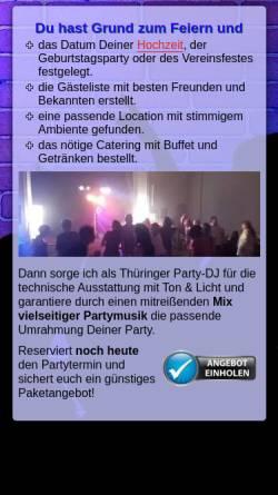 Vorschau der mobilen Webseite www.veranstaltungskonzept-gotha.de, Disco 84: Mobiler DJ für Feier, Party & Event in Thüringen