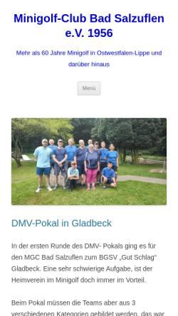 Vorschau der mobilen Webseite www.mgc-bad-salzuflen.de, Minigolf Club Bad Salzuflen e.V.