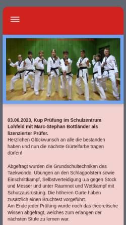Vorschau der mobilen Webseite www.taekwondo-koryo.de, Taekwondo Koryo e.V.