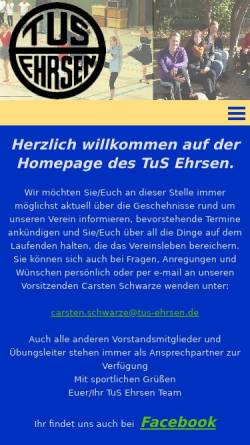 Vorschau der mobilen Webseite www.tus-ehrsen.de, TuS Ehrsen e.V.