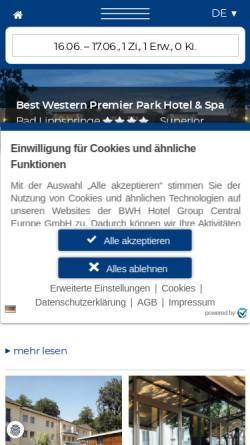 Vorschau der mobilen Webseite www.parkhotel-lippspringe.bestwestern.de, Best Western Premier Park Hotel
