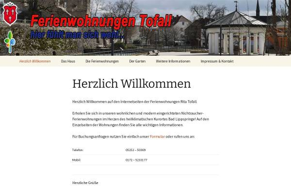 Vorschau von ritatofall.de, Ferienwohnungen Rita Tofall