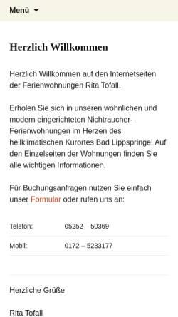 Vorschau der mobilen Webseite ritatofall.de, Ferienwohnungen Rita Tofall