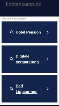 Vorschau der mobilen Webseite www.fichtenkamp.de, Gästehaus Fichtenkamp