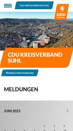Vorschau der mobilen Webseite www.cdu-suhl.de, CDU Suhl