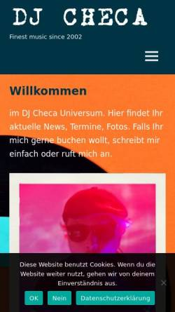 Vorschau der mobilen Webseite www.djcheca.de, DJ Checa