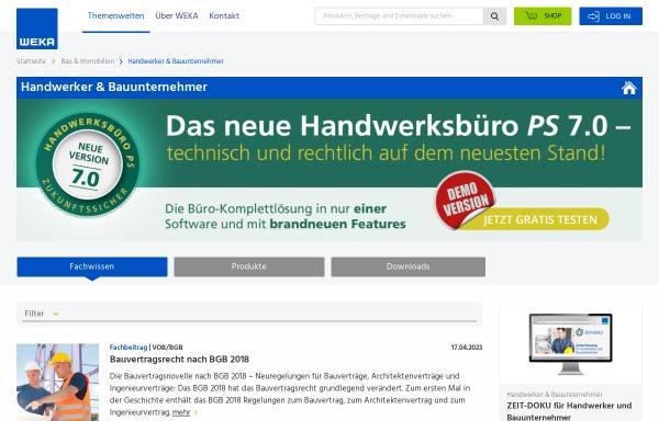 Vorschau von www.weka.de, Weka Medien GmbH & Co. KG - Medienbereich Handwerk und Bau