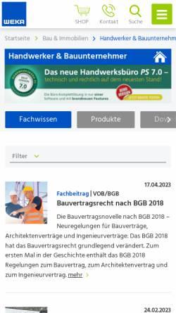 Vorschau der mobilen Webseite www.weka.de, Weka Medien GmbH & Co. KG - Medienbereich Handwerk und Bau