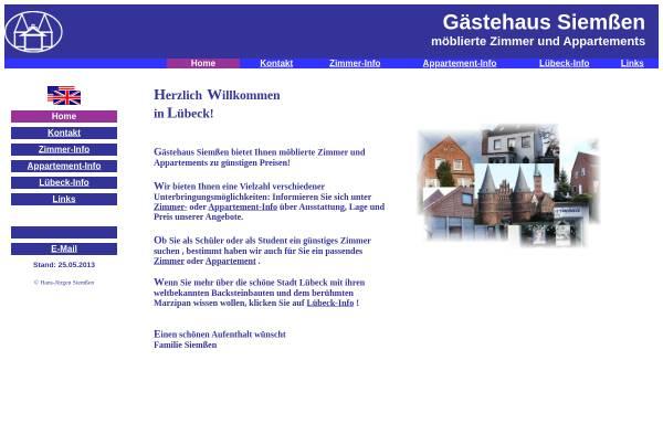 Vorschau von www.luebeck-zimmer.de, Gästehaus Siemßen-möblierte Zimmer & Appartements