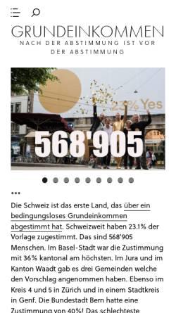 Vorschau der mobilen Webseite www.grundeinkommen.ch, Initiative Grundeinkommen
