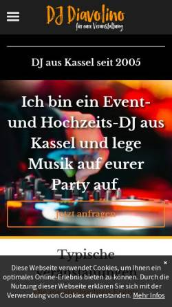 Vorschau der mobilen Webseite www.dj-diavolino.de, DJ-Diavolino