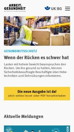 Vorschau der mobilen Webseite www.arbeit-und-gesundheit.de, Arbeit und Gesundheit