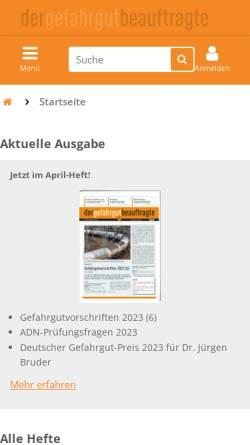 Vorschau der mobilen Webseite www.der-gefahrgut-beauftragte.de, Der Gefahrgut-Beauftragte