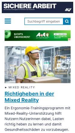 Vorschau der mobilen Webseite www.sicherearbeit.at, Sichere Arbeit