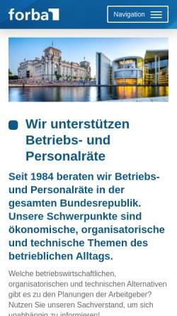 Vorschau der mobilen Webseite www.forba.de, Forba - Forschungs- und Beratungsstelle für betriebliche Arbeitnehmerfragen