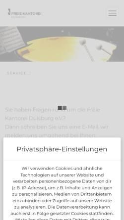 Vorschau der mobilen Webseite freie-kantorei.de, Chor der Kantorei-Hamborn in Duisburg