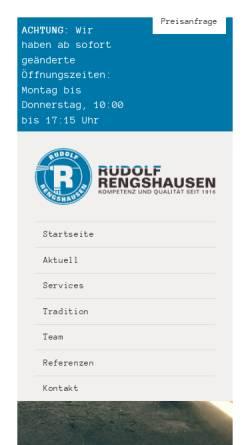 Vorschau der mobilen Webseite www.rengshausen.co.at, Rudolf Rengshausen - Metallspritztechnik