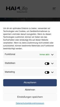Vorschau der mobilen Webseite www.hai-life.de, HAI-LIFE