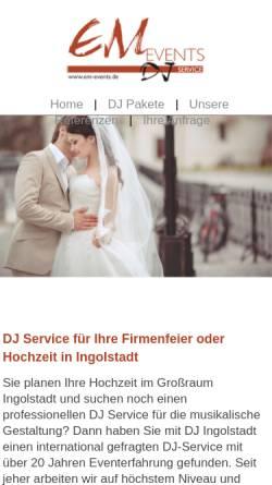 Vorschau der mobilen Webseite www.hochzeit-ingolstadt.com, Hochzeits-DJ Ingolstadt